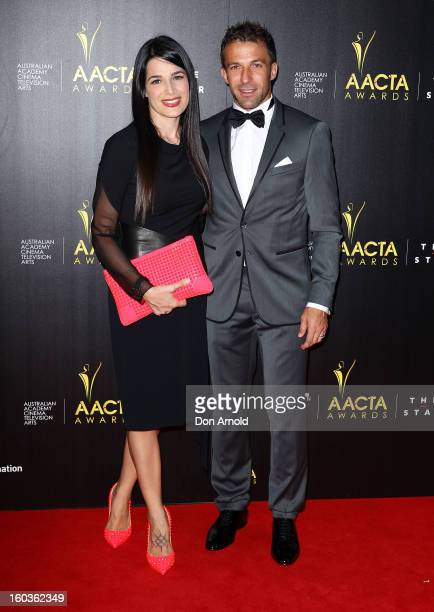 Sonia Amoruso and Alessandro del Pierro arrive for the 2nd Annual AACTA Awards at The Star on January 30 2013 in Sydney Australia