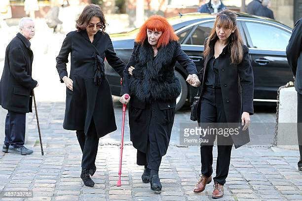 Sonia and her daughter Nathalie Rykiel attend the funerals of french writer Regine Deforges at St Germain church on April 10 2014 in Paris France