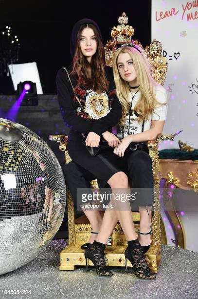 Sonia Ben Ammar and Anais Gallagher attend the Dolce Gabbana 'Dancing Queen' After Show Party during Milan Fashion Week Fall/Winter 2017/18 on...