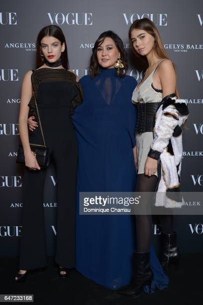 Sonia Ben Ammar Angelys Balek and Helena Gatsby arrive at the Vogue Thailand Angelys Balek Cocktail Dinner as part of Paris Fashion Week Womenswear...