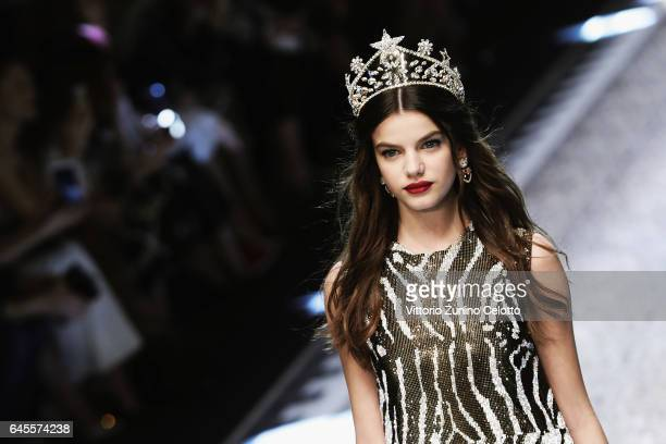 Sonia Ben Ammar walks the runway at the Dolce Gabbana show during Milan Fashion Week Fall/Winter 2017/18 on February 26 2017 in Milan Italy