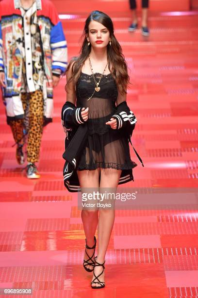 Sonia Ben Ammar walks the runway at the Dolce Gabbana show during Milan Men's Fashion Week Spring/Summer 2018 on June 17 2017 in Milan Italy
