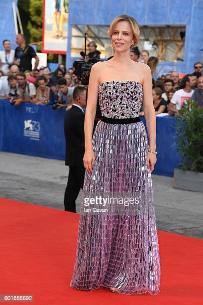 Sonia Bergamasco wears a JaegerLeCoultre watch on the red carpet before the 'Closing Ceremony' of the 73rd Venice Film Festival at Hotel Excelsior on...