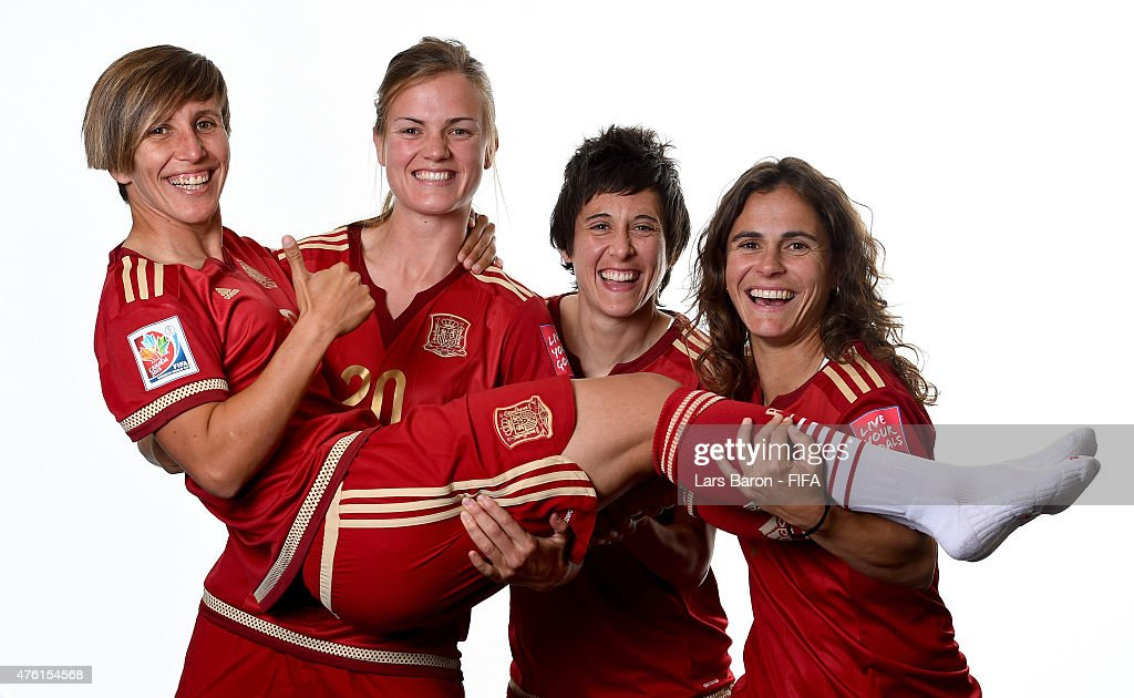 Sonia Bermudez Irene Paredes Erika Vazquez and Elisabet Ibarra of Spain pose during the FIFA Women's World Cup 2015 portrait session at Sheraton Le...