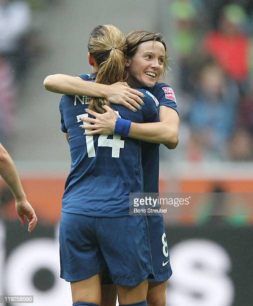 Sonia Bompastor of France celebrates her team's first goal with her team mate Louisa Necib during the FIFA Women's World Cup 2011 Semi Final Match...