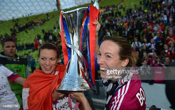 Sonia Bompastor of Olympique Lyonnais celebrates with the trophy during the UEFA Women's Champions League Final between Olympique Lyonnais and 1 FFC...