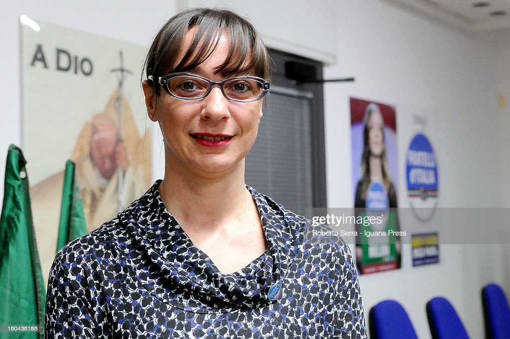 Sonia Cellini candidate in next political elections to Italian Parliament attends a meeting with his supporters of Fratelli d'Italia party at their electoral headquarters on January 31, 2013 in Bologna, Italy. The general election in Italy is Febrary 24-25.