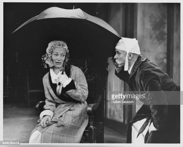 Sonia Dresdel as Georgina Tidman and Esmond Knight as Sir Tristram Mardon in the farce Dandy Dick at the Mermaid Theatre   Location Pudding Lane...