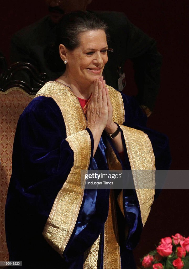 Sonia Gandhi, Chairperson of the National Advisory Council attends the 39th Annual Convocation at All India Institute of Medical Sciences on December 21, 2011 in New Delhi, India.