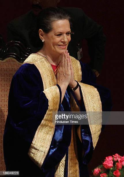 Sonia Gandhi Chairperson of the National Advisory Council attends the 39th Annual Convocation at All India Institute of Medical Sciences on December...
