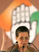 Sonia Gandhi during the 83rd plenary session of India's ruling Congress party in New Delhi on December 20 2010