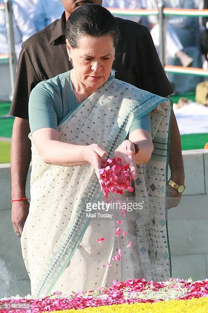 Sonia Gandhi pays her respects to the Father of the Nation Mahatama Gandhi at Rajghat in New Delhi on October 2 2009 on the occassion of his 140th...