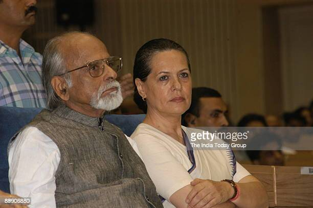 Sonia Gandhi President of All India Congress Committee and United Progressive Alliance Chairperson along with Inder Kumar Gujral former Prime...