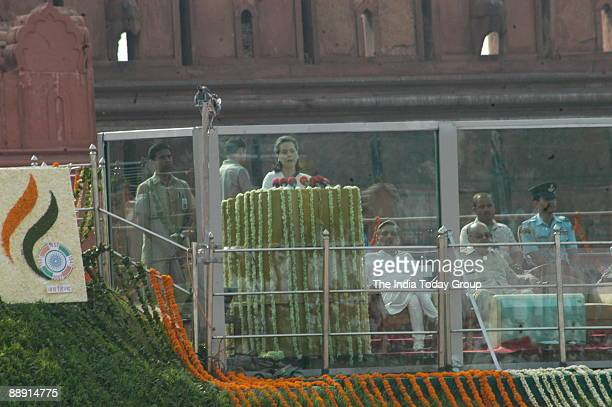Sonia Gandhi President of All India Congress Committee and United Progressive Alliance Chairperson addressing at the ceremony to commemorate the...