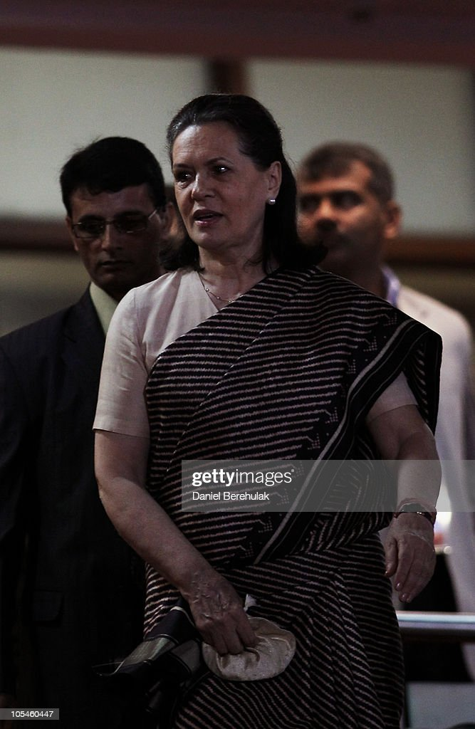<a gi-track='captionPersonalityLinkClicked' href=/galleries/search?phrase=Sonia+Gandhi&family=editorial&specificpeople=2287581 ng-click='$event.stopPropagation()'>Sonia Gandhi</a>, President of the Indian National Congress Party arrives during the Closing Ceremony for the Delhi 2010 Commonwealth Games at Jawaharlal Nehru Stadium on October 14, 2010 in Delhi, India.