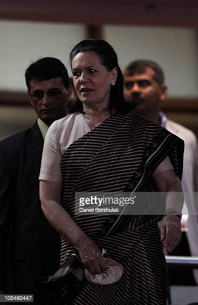 Sonia Gandhi President of the Indian National Congress Party arrives during the Closing Ceremony for the Delhi 2010 Commonwealth Games at Jawaharlal...