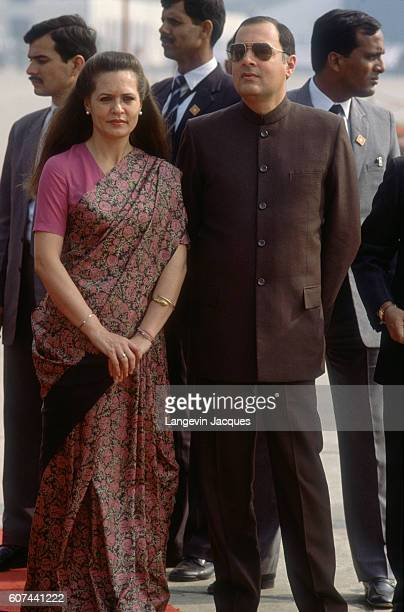 Sonia Gandhi stands with her husband Prime Minister Rajiv Gandhi during a departure ceremony for Mikhail Gorbachev The Soviet President and his wife...