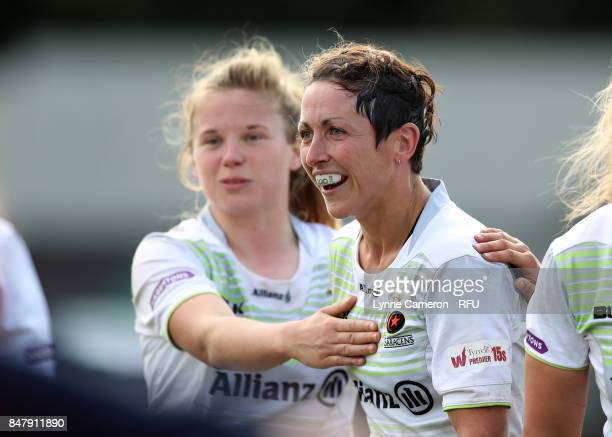 Sonia Green of Saracens Women celebrates at the final whistle in the Tyrrells Premier 15 at The Memorial Ground on September 16 2017 in Liverpool...