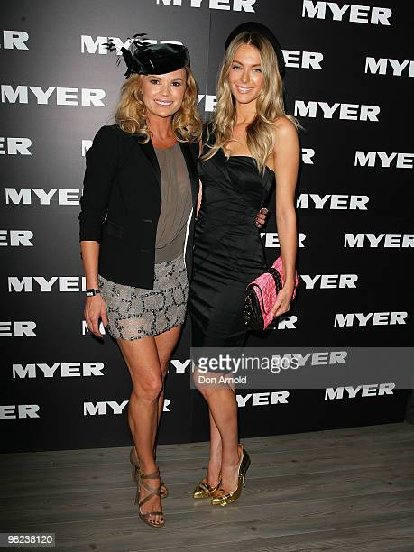 Sonia Kruger and Jennifer Hawkins attend Golden Slipper Day at the Rosehill Gardens on April 3 2010 in Sydney Australia