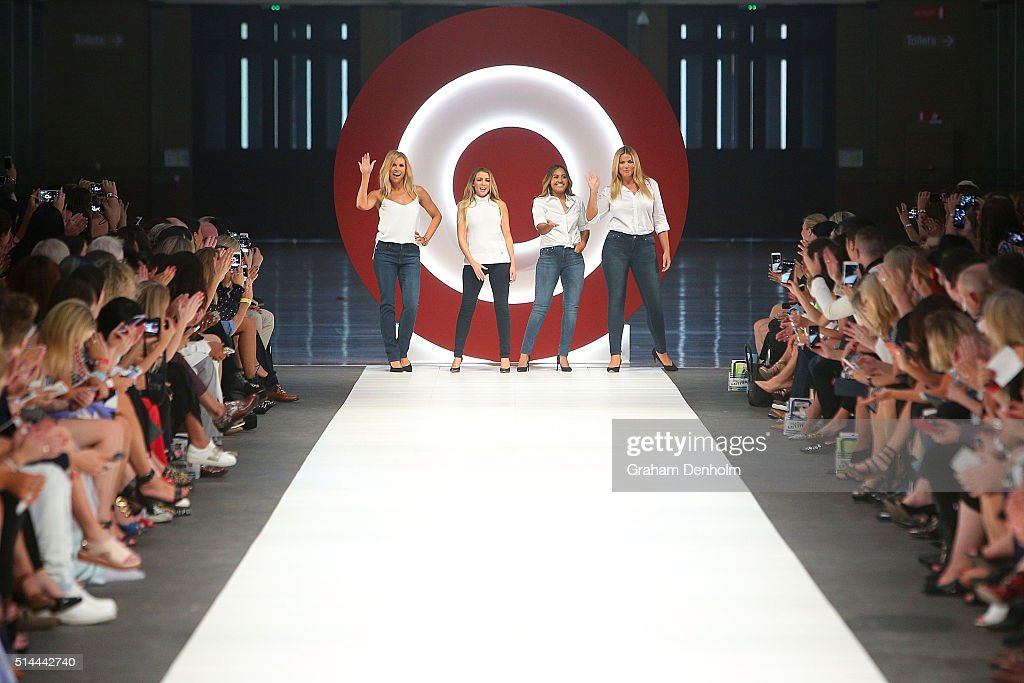 Sonia Kruger, Dannii Minogue, Jessica Mauboy and Fiona Falkiner showcase designs during the Jean Paul Gaultier x Target Launch during Melbourne Fashion Festival on March 9, 2016 in Melbourne, Australia.