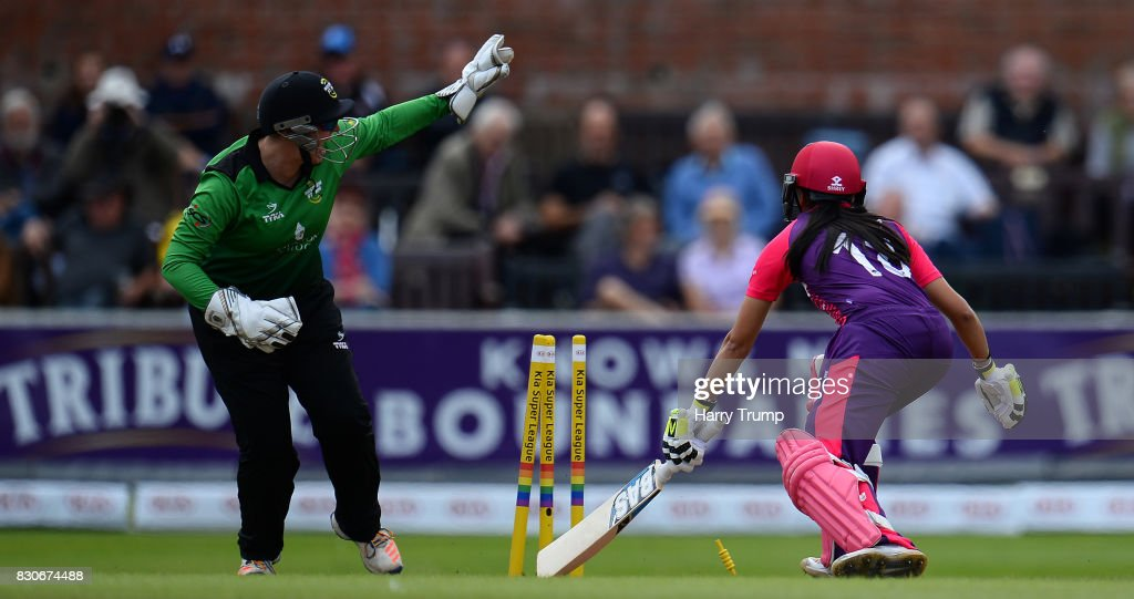 Sonia Odedra of Loughborough Lightning is stumped by Rachel Priest of Western Storm during the Kia Super League 2017 match between Western Storm and Loughborough Lightning at The Cooper Associates County Ground on August 12, 2017 in Taunton, England.