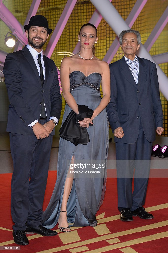Sonia Okacha Anas El Baz and director Abdelkader Lagtaa attend the Half The Sky Photocall during the 14th Marrakech International Film Festival on...