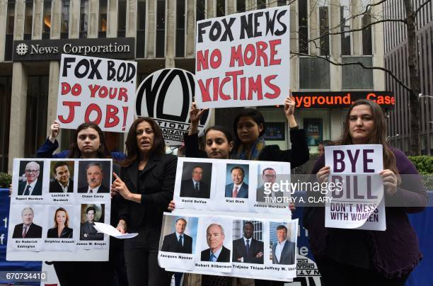Sonia Ossorio President National Organization for Women of New York and other women hold a protest in front of the News Corporation Headquarters in...