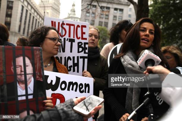 Sonia Ossorio President of the National Organization for Women holds a news conference and demonstration outside of Manhattan Criminal Court where...