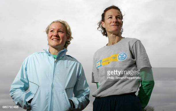 Sonia O'Sullivan of Ireland and Benita Johnson of Australia following a training session in preparation for the London Marathon at Teddington in...
