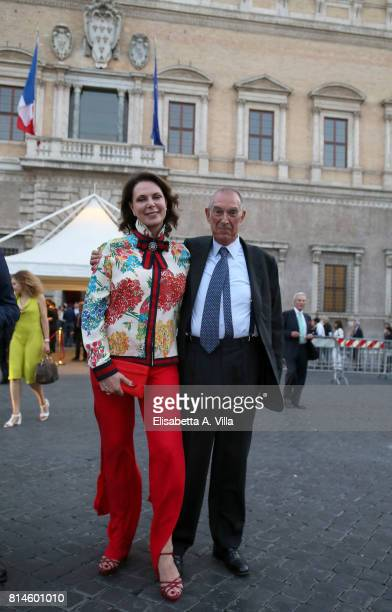 Sonia Raule and Franco Tato attend French National Day celebrations on July 14 2017 in Rome Italy