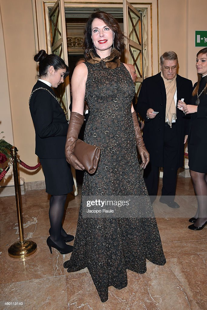 Sonia Raule attends the Teatro Alla Scala 2014/15 season opening on December 7 2014 in Milan Italy