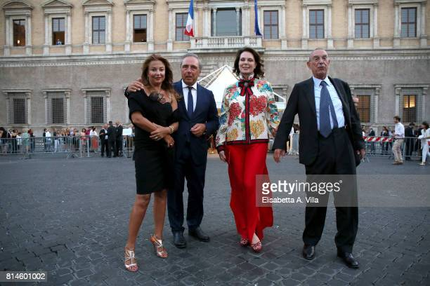 Sonia Raule Franco Tato and guests attend French National Day celebrations on July 14 2017 in Rome Italy