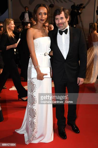 Sonia Rolland and Jalil Lespert attend the 'Redoubtable ' screening during the 70th annual Cannes Film Festival at Palais des Festivals on May 21...