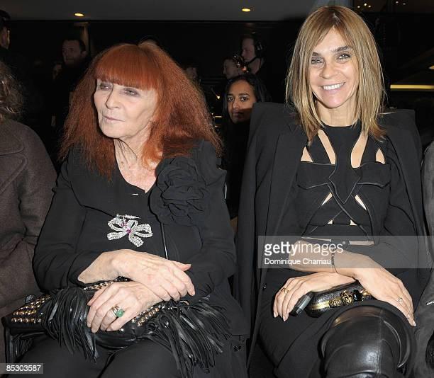 Sonia Rykiel and Carine Roitfeld attend the Sonia Rykiel ReadytoWear A/W 2009 fashion show during Paris Fashion Week on March 8 2009 in Paris France