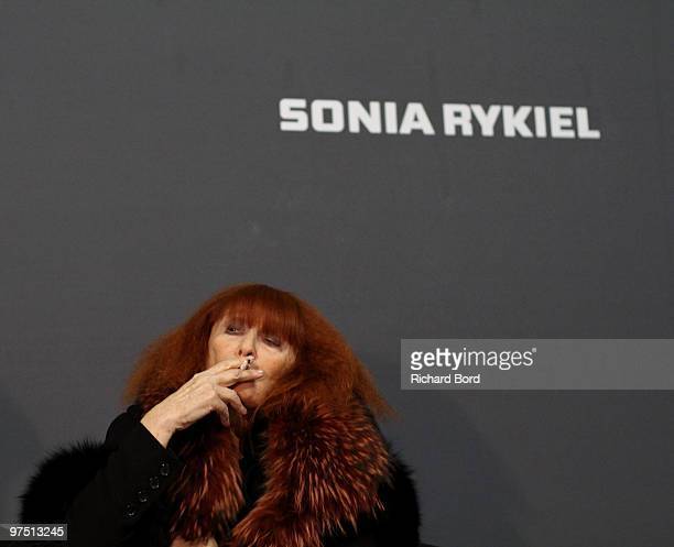 Sonia Rykiel poses backstage during the Sonia Rykiel Ready to Wear show as part of the Paris Womenswear Fashion Week Fall/Winter 2011 at Halle...