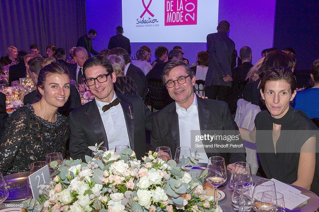Sonia Sieff, Rambert Rigaud, Manuel Puig and Ludivine Poiblanc attend the Sidaction Gala Dinner 2013 at Pavillon d'Armenonville on January 24, 2013 in Paris, France.