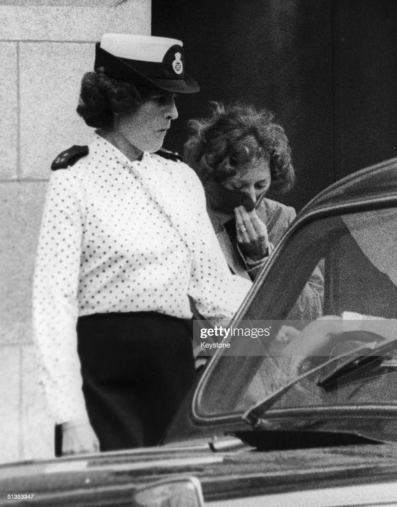 Sonia Sutcliffe (right) leaves the Old Bailey during the trial of her husband Peter for the 'Yorkshire Ripper' murders, 11th May 1981. Peter Sutcliffe was later convicted of 13 murders and seven attempted murders.