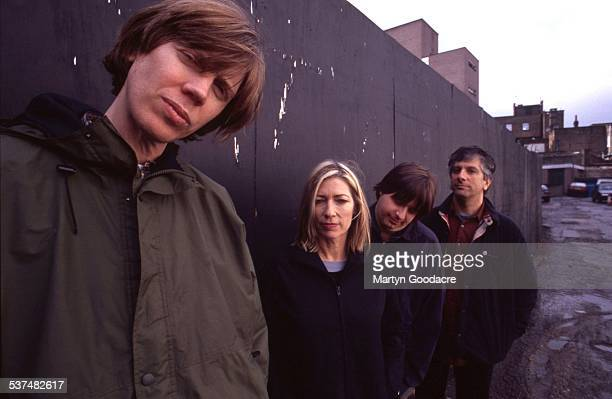 Sonic Youth group portrait London United Kingdom 1989 LR Thurston Moore Kim Gordon Steve Shelley Lee Ranaldo