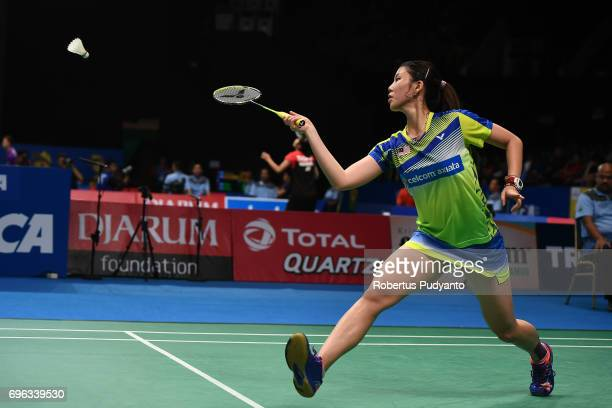 Soniia Cheah of Malaysia competes against Chen Xiaoxin of China during Womens Single Round 2 match of the BCA Indonesia Open 2017 at Plenary Hall...