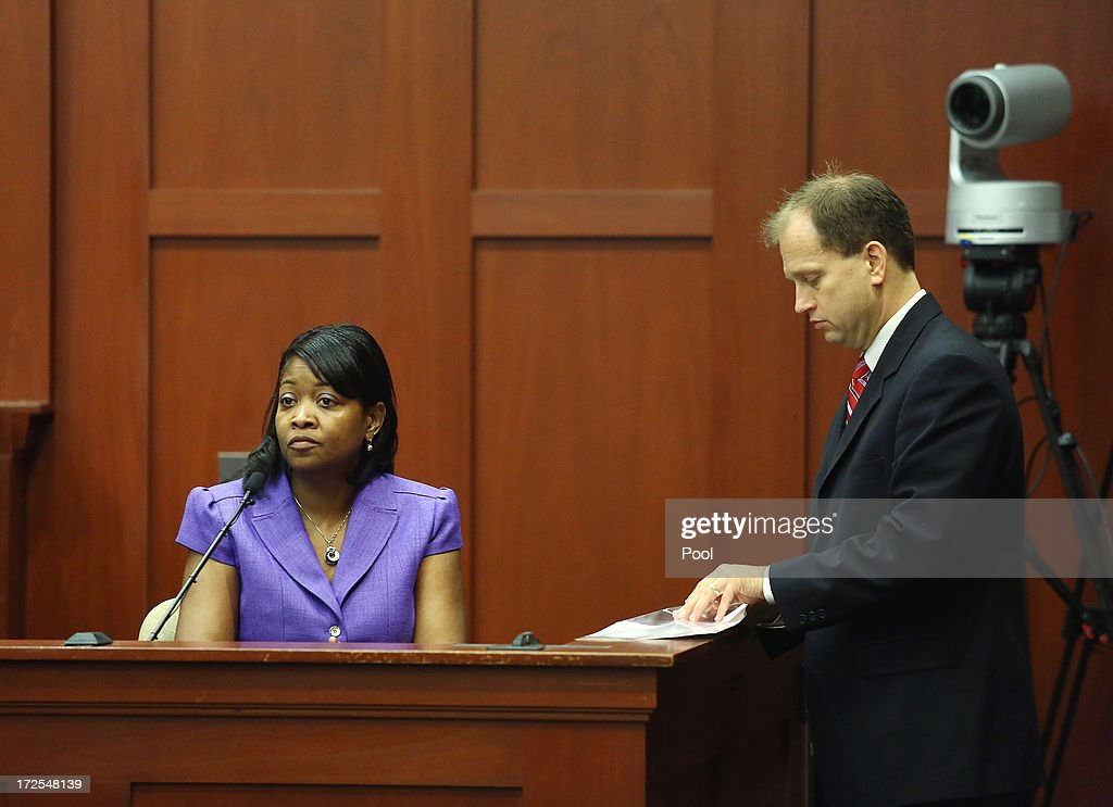 Sonja Boles-Melvin, registrar for Seminole State College, answers Assistant State Attorney Richard Mantei's questions during the George Zimmerman trial in Seminole circuit court, July 3, 2013 in Sanford, Florida. Zimmerman is charged with second-degree murder for the February 2012 shooting death of 17-year-old Trayvon Martin.