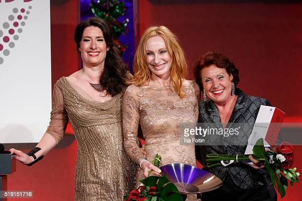 Sonja Fusati Andrea Sawatzki and Georgia Tornow attend the Victress Awards Gala on 2016 in Berlin Germany