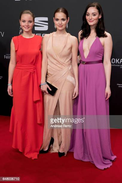 Sonja Gerhardt Emilia Schuele and Maria Ehrich arrive for the Goldene Kamera on March 4 2017 in Hamburg Germany