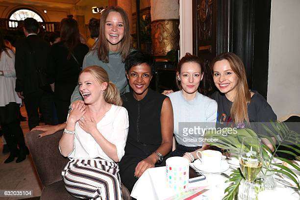 Sonja Gerhardt Jennifer Ulrich Dennenesch Zoude Lavinia Wilson and Mina Tander during the GRAZIA Pop Up Breakfast during the MercedesBenz Fashion...