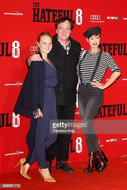 Sonja Gerhardt Quentin Tarantino and Isabell Horn attend the premiere of 'The Hateful Eight' at Zoo Palast on January 26 2016 in Berlin Germany
