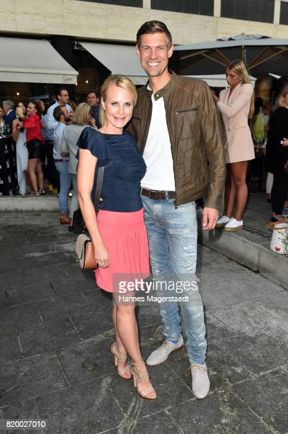 Sonja Kiefer and Cedric Schwarz attend the 'Cotidiano Restaurant Opening' on July 20 2017 in Munich Germany