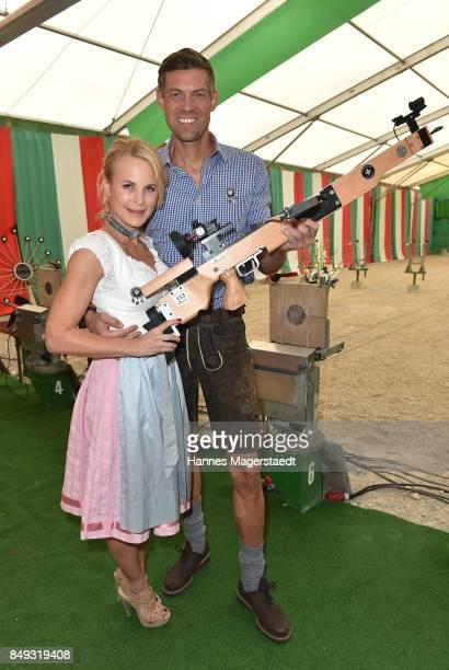 Sonja Kiefer and Cedric Schwarz during the BMW Armbrustschiessen as part of the Oktoberfest 2017 at ArmbrustSchuetzenfesthalle on September 18 2017...