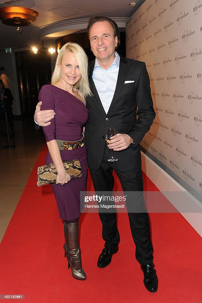Sonja Kiefer and Jaeger-LeCoultre General Manager Northern Europe Juergen Bestian attend Jaeger-LeCoultre Cocktail at Charles hotel on November 26, 2013 in Munich, Germany.