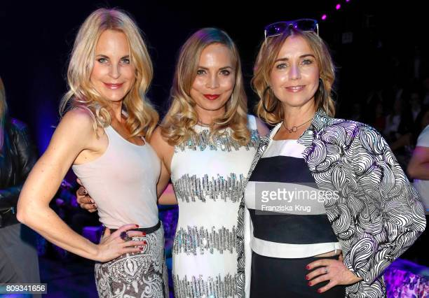 Sonja Kiefer Regina Halmich and Tina Ruland attend the Guido Maria Kretschmer Fashion Show Autumn/Winter 2017 presented by OTTO at Tempodrom on July...