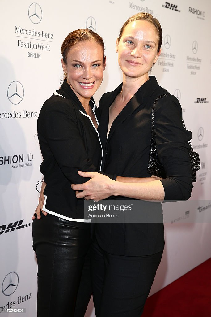 Sonja Kirchberger and Jeanette Hain attend the Minx By Eva Lutz Show during the Mercedes-Benz Fashion Week Spring/Summer 2014 at the Brandenburg Gate on July 3, 2013 in Berlin, Germany.