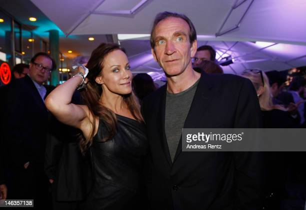 Sonja Kirchberger and partner Jochen Nickel attend the producer party 2012 of the German producers alliance on June 14 2012 in Berlin Germany